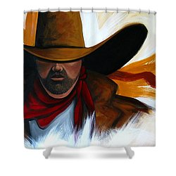 Shower Curtain featuring the painting Brushstroke Cowboy #4 by Lance Headlee