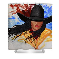 Shower Curtain featuring the painting Brushstroke Cowgirl #3 by Lance Headlee