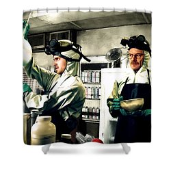 Bryan Cranston As Walter White And Aaron Paul As Jesse Pinkman Cooking Metha @ Tv Serie Breaking Bad Shower Curtain