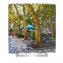 Bryant Park October Shower Curtain by Liz Leyden