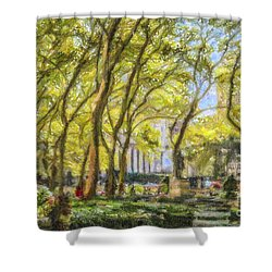 Bryant Park October Morning Shower Curtain by Liz Leyden