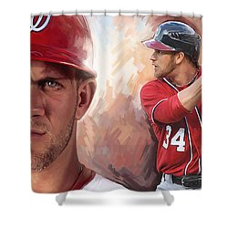 Shower Curtain featuring the painting Bryce Harper Artwork by Sheraz A
