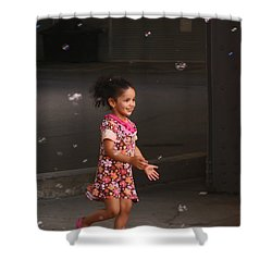 Bubbles Make The Happiest Moments Shower Curtain by Aimelle