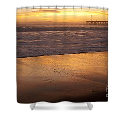 Shower Curtain featuring the photograph Bubbles On The Sand With Ventura Pier  by Ian Donley
