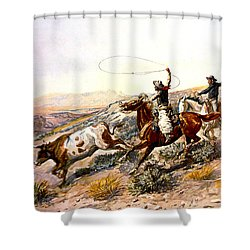 Buccaroos Shower Curtain by Charles Russell