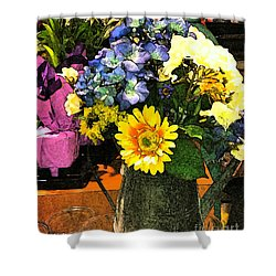 Bucket Of Flowers Shower Curtain