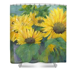 Bucket Of Sunflowers Colorful Original Painting Sunflowers Sunflower Art K. Joann Russell Artist Shower Curtain by Elizabeth Sawyer