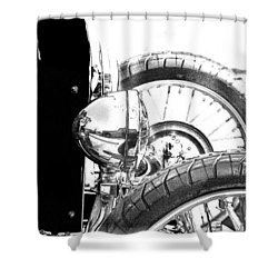 Shower Curtain featuring the digital art Bucket Roadster I Bw Lineart by Lesa Fine