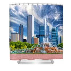 Buckingham Fountain Skyscrapers Shower Curtain by Christopher Arndt
