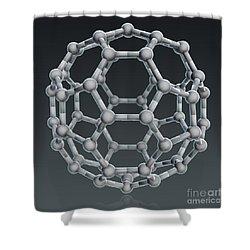 Buckminsterfullerene Molecular Model Shower Curtain by Evan Oto