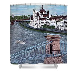 Shower Curtain featuring the painting Budapest Bridge by Jasna Gopic