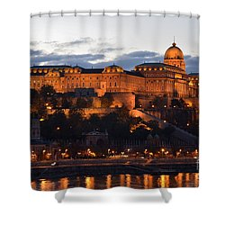 Budapest Palace At Night Hungary Shower Curtain by Imran Ahmed