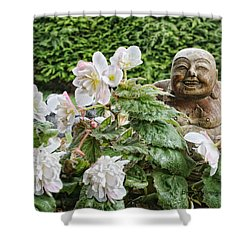Budda And Begonias Shower Curtain by Denise Romano