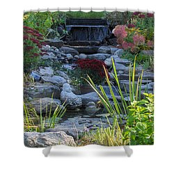 Shower Curtain featuring the photograph Buddha Water Pond by Brenda Brown