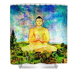 Buddha Shower Curtain by Ally  White