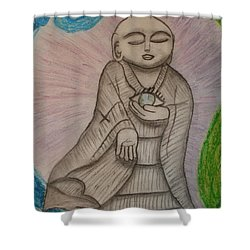 Shower Curtain featuring the drawing Buddha And The Eye Of The World by Thomasina Durkay