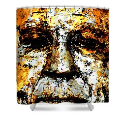 Buddha Face Shower Curtain by Nola Lee Kelsey