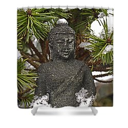 Buddha In The Snow Shower Curtain