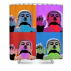 Shower Curtain featuring the digital art Buddha Pop Art - 4 Panels by Jean luc Comperat