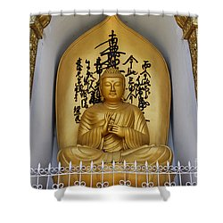 Buddha Statue At The World Peace Pagoda Pokhara Shower Curtain by Robert Preston
