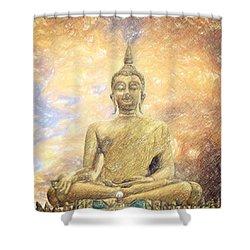Buddha Shower Curtain by Taylan Apukovska