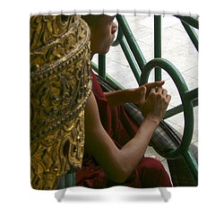 Buddhist Monk Leaning Against A Pillar Sule Pagoda Central Yangon Myanar Shower Curtain
