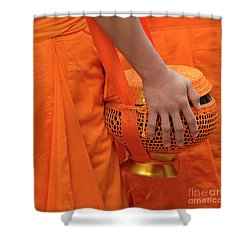 Buddhist Monks Hand Shower Curtain by Bob Christopher