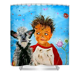 Shower Curtain featuring the painting Buddies by Phyllis Kaltenbach