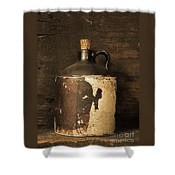 Buddy Bear Moonshine Jug Shower Curtain by John Stephens