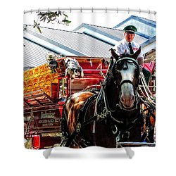 Shower Curtain featuring the photograph Budweiser Beer Wagon by Mike Martin