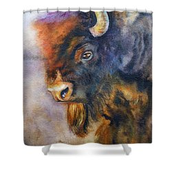 Shower Curtain featuring the painting Buffalo Business by Karen Kennedy Chatham
