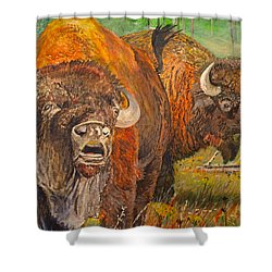 Buffalo Calling Shower Curtain by Alvin Hepler