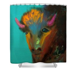 Shower Curtain featuring the painting Buffalo by Keith Thue