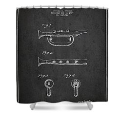 Bugle Call Instrument Patent Drawing From 1939 - Dark Shower Curtain by Aged Pixel