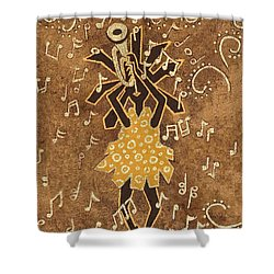 Bugle Player Shower Curtain by Katherine Young-Beck