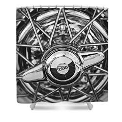 Buick Skylark Wheel Black And White Shower Curtain by Jill Reger