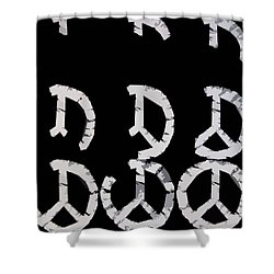 Build Up Peace Shower Curtain by Michelle Calkins