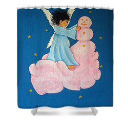 Building A Cloudman Shower Curtain by Pamela Allegretto