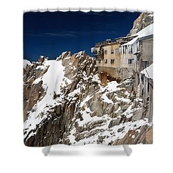 Shower Curtain featuring the photograph building in Aiguille du Midi - Mont Blanc by Antonio Scarpi