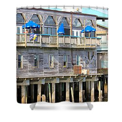 Building On Piles Above Water Shower Curtain by Lorna Maza