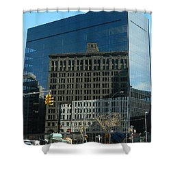 Shower Curtain featuring the photograph Building Reflections Nyc by Emmy Marie Vickers