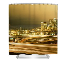 Buildings Lit Up At Night, Seattle Shower Curtain by Panoramic Images