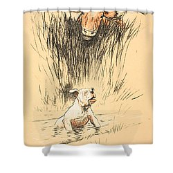 Bull And Dog In Field Shower Curtain by Cecil Charles Windsor Aldin
