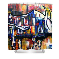 Bull At Sunset Shower Curtain