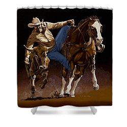 Bull Doggin' Shower Curtain by Hugh Blanding