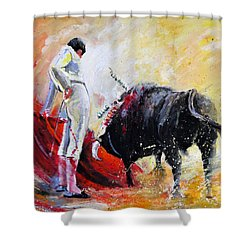 Bull In Yellow Light Shower Curtain