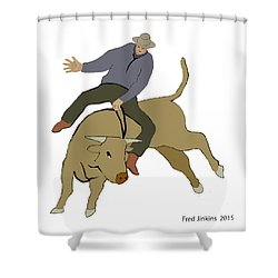 Bull Riding Shower Curtain by Fred Jinkins