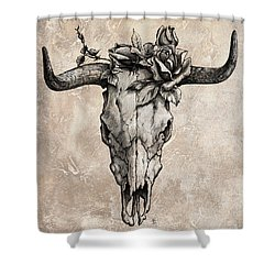 Bull Skull And Rose Shower Curtain