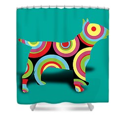 Bull Terrier Shower Curtain by Mark Ashkenazi