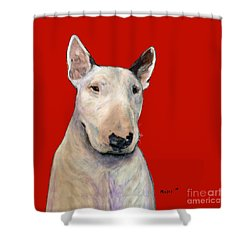 Bull Terrier On Red Shower Curtain
